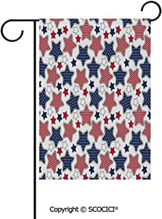 SCOCICI Double Sided Washable Customized Unique 12×18(in) Garden Flag Big Star Figures with American Flag Featured Inner Lines Proud Country Design Decorative,Indigo Red White,Flag Pole NOT Included