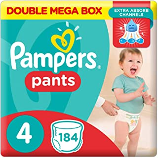 Pampers Pants Diapers, Size 4, Maxi, 9-14 kg, Double Mega Box, 184 Count
