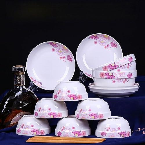 Céramique 6 Bol 4 Assiette 6 Baguettes 2 Plats Ensemble Bol de Riz Baguettes en Céramique Plaque Ménage Four à Micro-Ondes Coutellerie,UNE