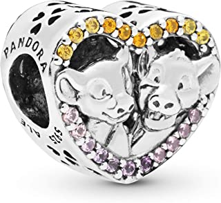 PANDORA Disney, Sparkling Simba and Nala Heart 925 Sterling Silver Charm - 798044NPRMX