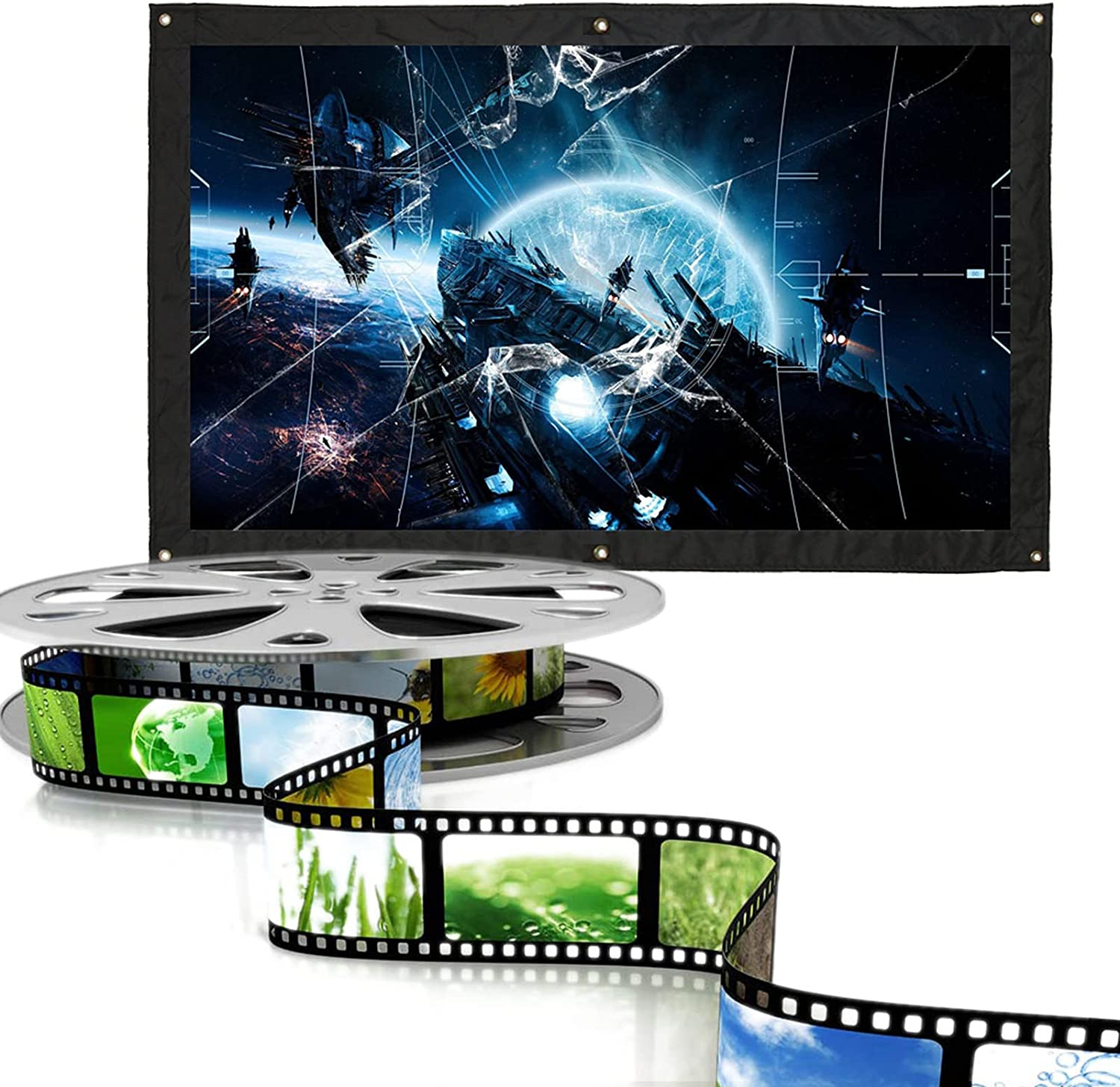 Gaeirt Portable Projection Screen, Folding Projector Screen Outdoor Movie Screen for Home Patio Balcony(60 inches)
