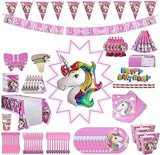 Beauenty 139pcs Unicorn Birthday Party Disposable Tableware Set,Amazing Unicorn Party Decorations, Unicorn Party Supplies,...