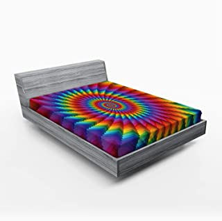 Ambesonne Trippy Fitted Sheet, Psychedelic Rainbow Spiral in Vibrant Colors Circular Rainbow of Optical Illusion, Soft Decorative Fabric Bedding All-Round Elastic Pocket, Queen Size, Blue Red