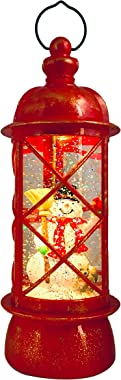 SPARKS Christmas Decorative Lanterns: Holiday Lighted Up Swirl Dome Snow Globe with Liquid Glitter. Christmas Lantern Snow Globe Snowman Home Christmas Decorations Vintage Style Lantern