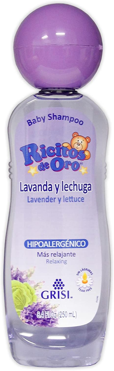 Ricitos de Oro Lavender Shampoo | Baby Shampoo with Pop-Up Rattle Cap, Paraben Free Product for Baby's Delicate Hair; 8.4 Fl Ounces