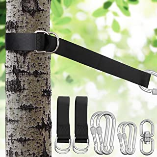 Hammock Straps Hanging Kit, Holds 2000lbs with 2pcs 5ft Extra Long Tree Swing Straps, 4 Heavy Duty Carabiner, 1 Carry Bag,1 Swivel Hook, for Tire Swing and Saucer Swings, Safety for Kids Baby Adults