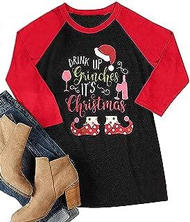 Women Drink Up Grinches It's Christmas Baseball Tees Funny Santa Hat 3/4 Sleeve Raglan Shirt Tops Blouse