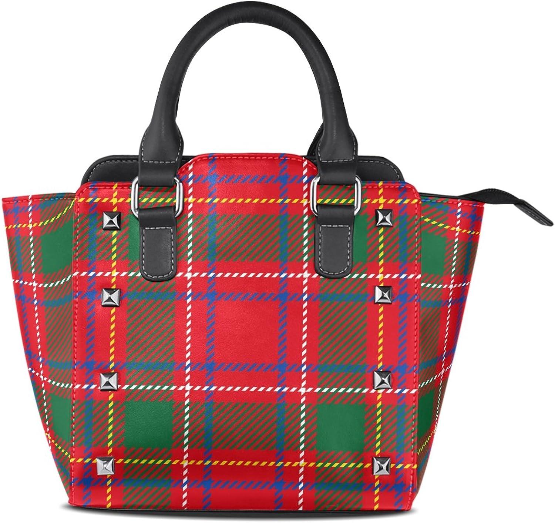 My Little Nest Women's Top Handle Satchel Handbag Traditional Red Green Yellow Tartan Christmas Ladies PU Leather Shoulder Bag Crossbody Bag