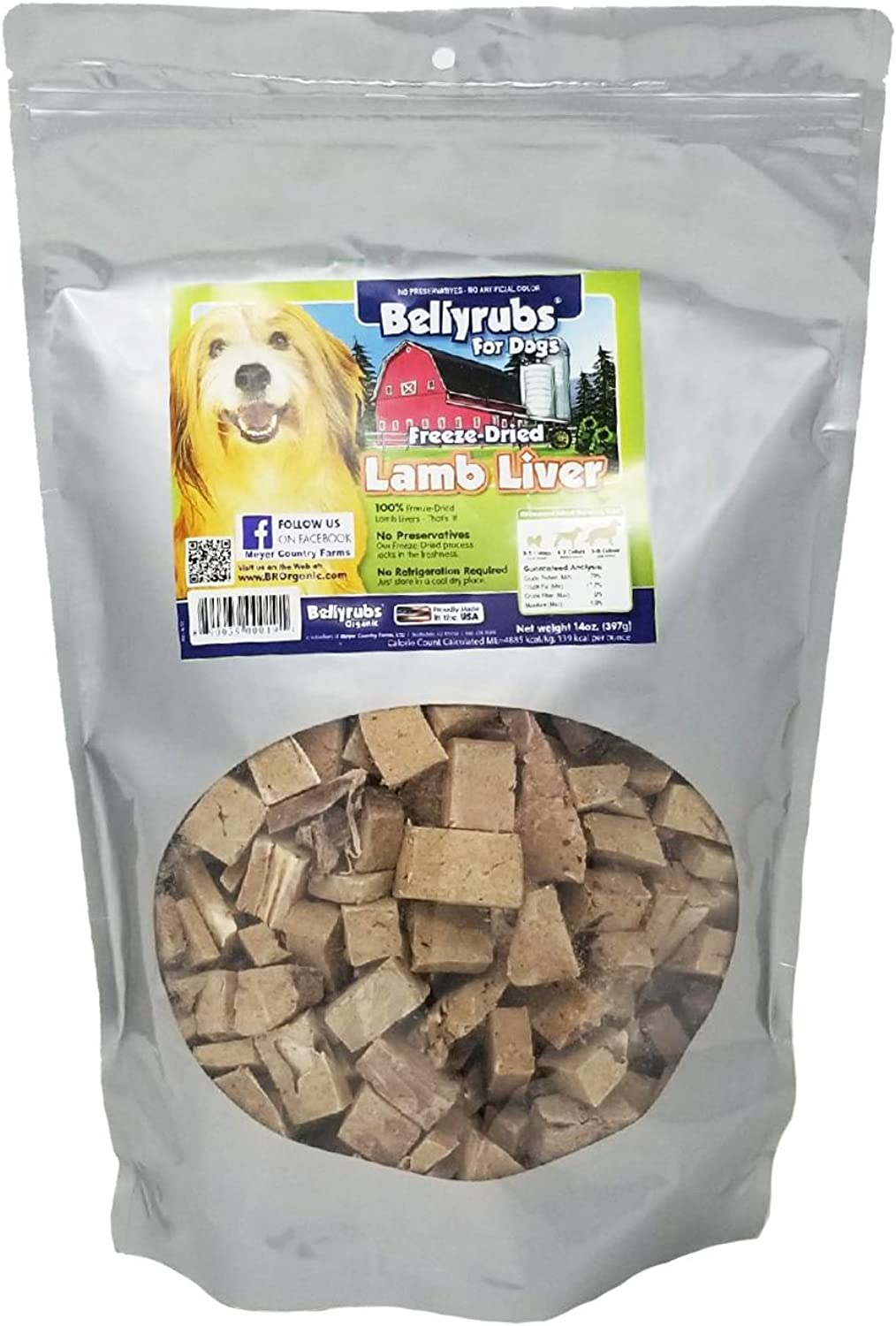 Bellyrubs Organic All Natural 14Ounce FreezeDried Dog Treats, Lamb and Liver Flavor