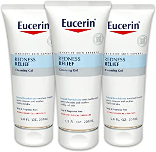 Eucerin Redness Relief Cleansing Gel - Fragrance Free, Gently Cleanses Sensitive Skin - 6.8 fl. oz. Tube (Pack of 3)
