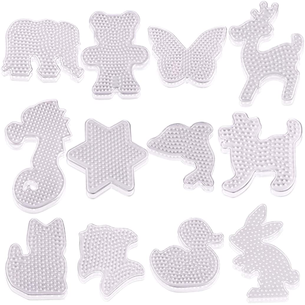 AOPOO 12 Pieces Fuse Beads Pegboards Clear Animal-Shaped Pegboards Small Plastic Template Beads Boards for Kids Craft Beads