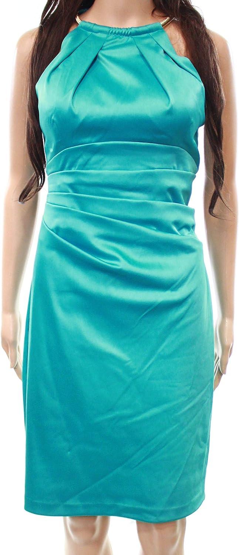 Eliza J Womens Stretch Satin Sleeveless Halter Sheath Dress Dress