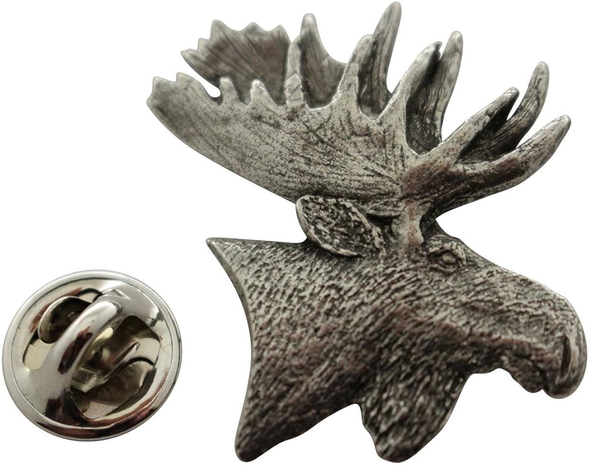 Sarah's Treats & Treasures Moose Head Pin ~ Antiqued Pewter ~ Lapel Pin