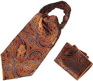Men's Paisley Jacquard Woven Self Cravat Tie Ascot Pocket Square Set (Orange)