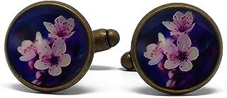 2 Gemelli da polso gemelli rosa viola resina ciliegio fiore sakura Giappone regali personalizzati regalo di Natale amici p...