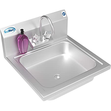 """KoolMore NSF Stainless Steel Commercial Hand Sink with Goosneck Faucet 17"""" x 15"""" - Wall Mount Hand Wash Sink, Silver (SH17-4GNF)"""