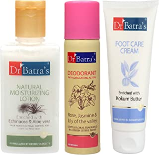 Dr Batra's Natural Moisturising Lotion 100 ml, Deo For Women 100 G and Foot Care Cream 100 ml(Pack of 3 For Women)