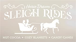 Horse Drawn Sleigh Ride Stencil by StudioR12 | Reusable Mylar Template | Paint Wood Sign | Craft Rustic Vintage Farmhouse Christmas Decor | DIY Cozy Retro Holiday Winter Gift | Select Size (16