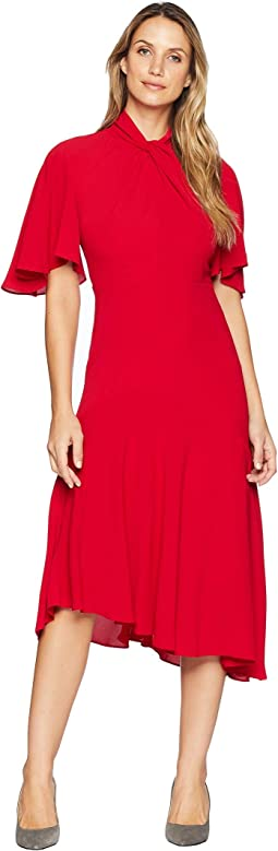 Catalina Crepe Twist Neck Asymmetrical Midi Dress