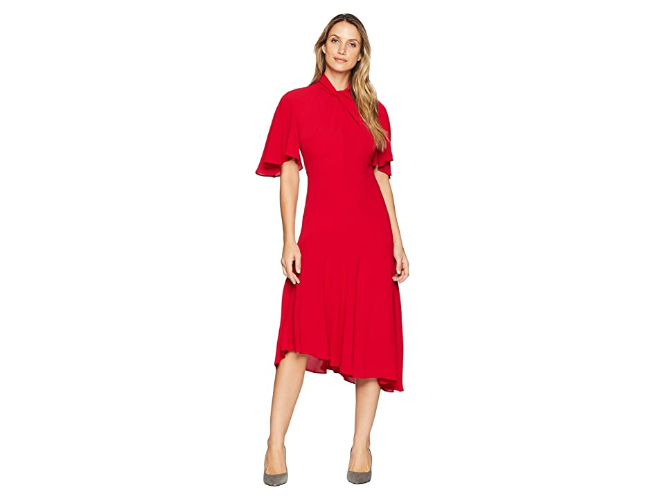 Maggy London Catalina Crepe Twist Neck Asymmetrical Midi Dress (Cranberry) Women