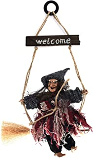 Staright Halloween Welcome Wood Plaque Hanging Witch Decoration Witch on Broomstick Halloween Ornament Hanging Flying Witc...