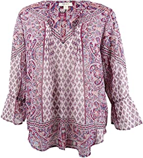 Style & Co. Womens Plus Bell Sleeve V-Neck Peasant Top