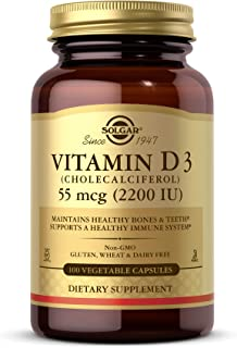 Solgar Vitamin D3 (Cholecalciferol) 55 mcg (2200 IU) Vegetable Capsules - 100 Count