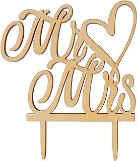 WINOMO Mr Mrs Wooden Letters Heart Wedding Cake Topper Decoration