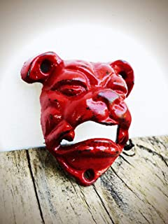 Crimson Red English Bulldog Wall Mount Cast Iron Bottle Opener – Rustic Man Cave Bar Decor – Unique Gift for US Marine