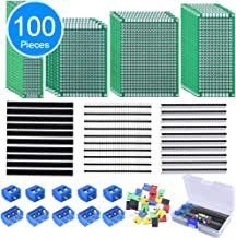 AUSTOR 100 Pcs PCB Board Kit Including 30 Pcs PCB Boards 30 Pcs 40 Pin 2.54mm Header Connector(Bonus: 10 Pcs 2P&3P Terminal Blocks and 30 Pcs Caps)