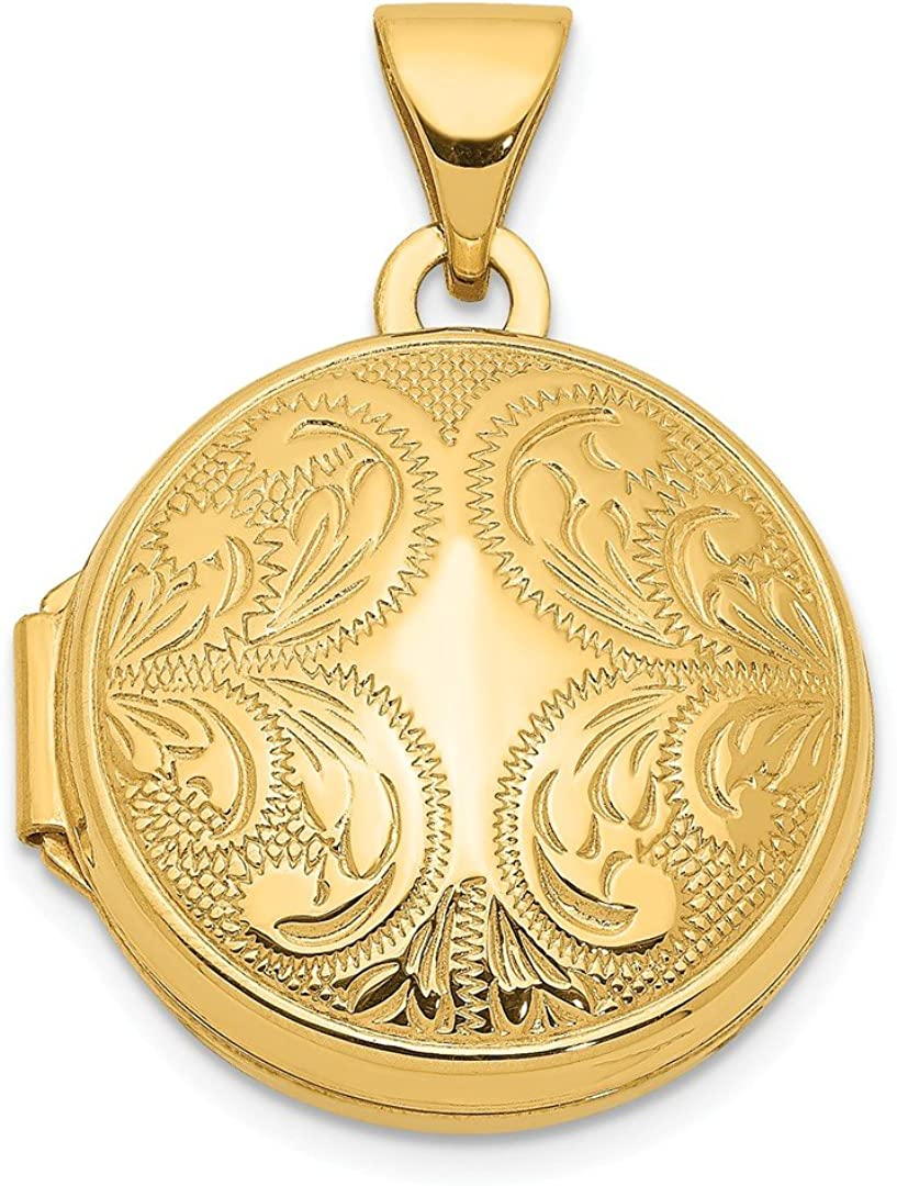 14k Yellow Gold 16mm Round Locket Scroll Design Necklace Pendant Charm Shaped Fine Jewelry For Women Gifts For Her