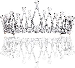 LUCKYYY Accessori per Capelli Corona da Sposa Gioielli da Sposa con diadema di Diamanti