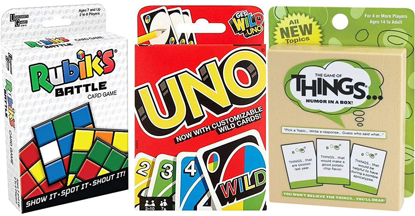 Funny Battle Things Match Game Go Uno Wild Cards + Rubik Cube Battle Shout & Humor in a Box Combo Deck Fun time Pack