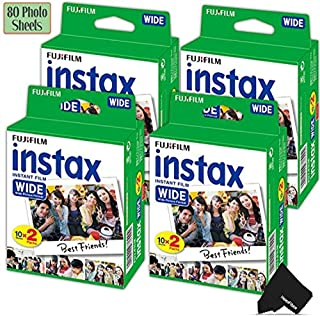 FujiFilm Instax Wide Instant Film 4 Pack (4 x 20) Total of 80 Photo Sheets - Compatible with FujiFilm Instax Wide 300 210 and 200 Instant Cameras