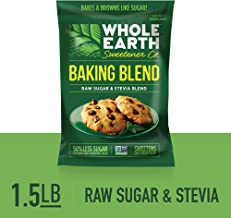 WHOLE EARTH SWEETENER Baking Blend, Granular Raw Sugar and Stevia Baking Blend, Baking Sugar and Baking Stevia Mix, 1.5 Pound Pouch