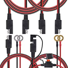 Hilitchi 4 Pcs 2 3 6 ft Battery Charger Kit SAE to SAE Extension Cable SAE to O Ring Terminal Harness Wire Ring Terminal Harness with Black Fused 2 Pin Quick Disconnect Plug with Cap(16 18 awg)