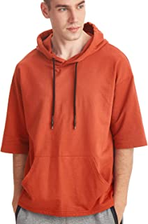 Zengjo Men's Short Sleeve Lightweight Sweatshirt Hoodies Solid Fashion Hooded T-Shirt