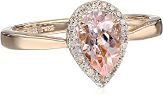 10kt Rose Gold 8x5mm Pear Morganite and Natural White Diamond Accent Halo Ring