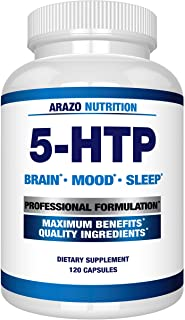 5-HTP 200mg Plus Calcium for Mood, Sleep, Anxiety - Boosts Serotonin Production - 99% High Purity – 120 Capsules – Arazo N...