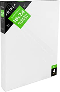 """ARTEZA 18x24"""" Stretched White Blank Canvas, Pack of 4, Primed, 100% Cotton, Acrylic Pouring, Oil Paint & Wet Art Media, Canvases for Professional Artist, Hobby Painters (Pack of 8)"""