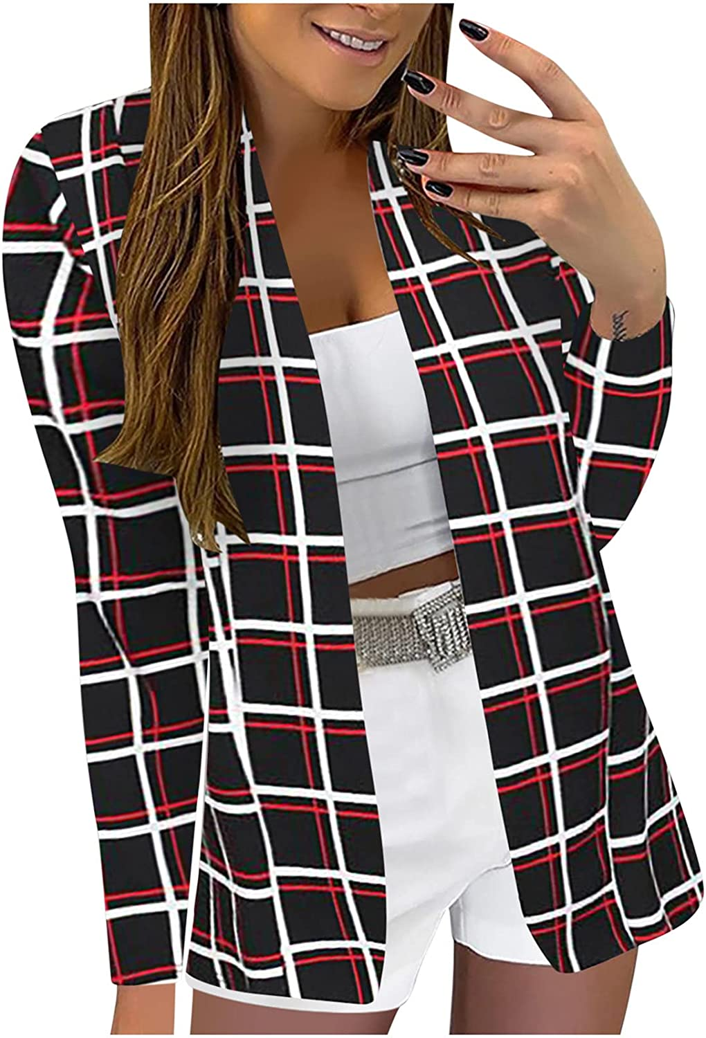 Womens Business Blazers Attire Printed 3/4/ Sleeve Slimming Cardigan Suit Coat Top Casual Work Office Jackets Blazer