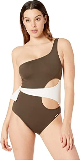 Sunblock Color Block One Shoulder Wrap One-Piece
