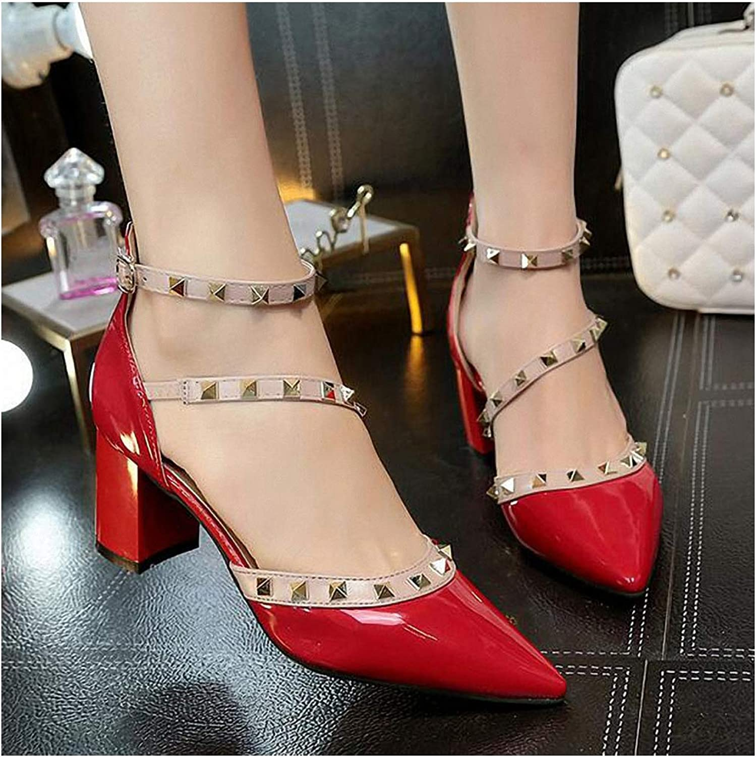 Womens High-Heeled Pumps shoes New Woman High Heels shoes Ladies Sexy Pointed Toe Pumps Buckle Rivets Nude Heels Dress Wedding shoes