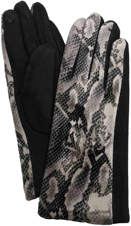 Womens Soft Black Velvet Snake Print Stretch Fit Text & Tech Touchscreen Gloves