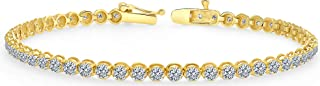 Beverly Hills Jewelers 1.00 Carat Diamond Tennis Bracelet - Brilliant Cut Yellow Gold Diamond Bracelet for Women - Beautifully Crafted Diamond Tennis Bracelet with Secure Double Clasp & Box Included