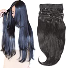 Clip In Sets 10pcs Clip In Human Hair Extensions Jet Black #1 Remy Human Hair Straight For Full Head 22inch 220g Weight