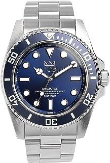[HYAKUICHI 101] ダイバーズウォッチ スイープセコンド 200m防水 逆回転防止ベゼル 腕時計 メンズ (ネイビー)