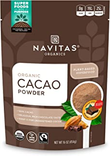 Navitas Organics Cacao Powder, 16oz. Bag, 30 Servings - Organic, Non-GMO, Fair Trade, Gluten-Free