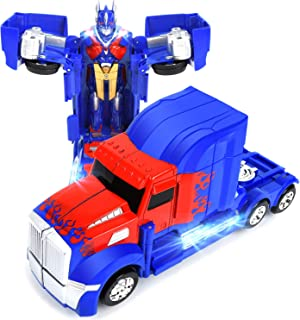 WonderPlay Transforming Truck Toy 2 in 1 Truck Realistic Robot for Girls and Boys - Bump and Go Action with Sounds and Colorful Lights