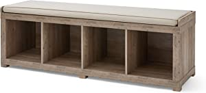 Better Homes and Gardens Storage Organizer Bench, (4-Cube, Rustic Gray)